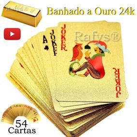 Baralho Dourado Banhado Ouro 24k Poker Truco Cartas Jogo