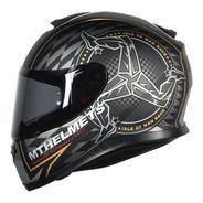 Capacete Moto Mt Thunder3 Isle Of Man Preto Dourado Fosco