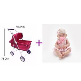 Carrinho Berço De Boneca + Baby Ninos Cotiplas Reborn Menina