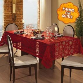 Toalha De Mesa Retangular 8 Lugares Natal Renda Vermelha 201
