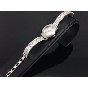 Reloj De Plata Para Dama Con Piedras De Zirconia Blanco