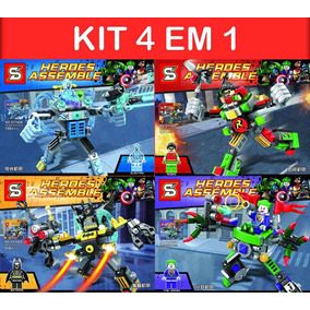 Kit 4 Lego 480 Peças Compatível Batman Robin Coringa Electro
