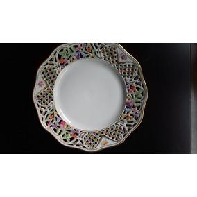 Prato Porcelana Antigo Decorativo Alemao