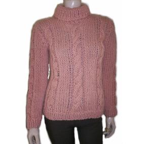 Sweater Polera Pulover Tejido A Mano Trenzas 70% Lana Pura