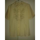 Camisa Dama Color Crema Talla 38 (de Axila A Axila 51 Cms)