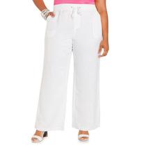 Pantalon Casual De Lino Con Elastico Talla Extra Xl Xxl