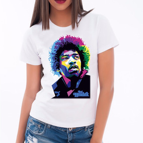 Camiseta Baby Look Blusa Feminina Camisa Jimi Hendrix Color