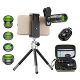 Apexel Cell Phone Camera Lens Kit -remote Shutter+ Phone Tri