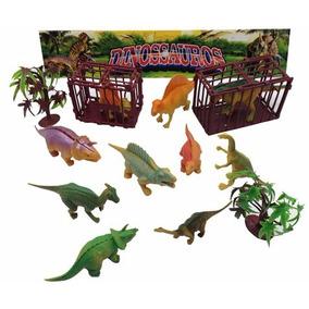 Brinquedo Dinossauro De Plastico Kit Com 14 Pçs