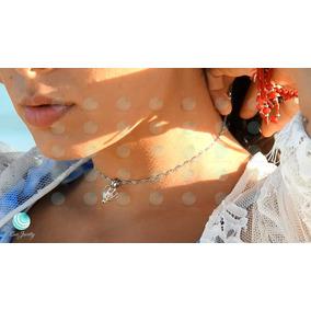 Oferta Collar Bañado Oro Blanco, Perla Cultivada En Su Ostra