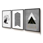Quadro Decorativo Moldura Jogo Geométrico Triângulo E Árvore