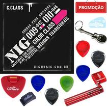 Jogo De Cordas 09 Nig Color Rosa N1635 P/ Guitarra + Kit B01