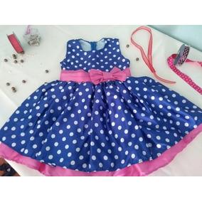 Vestido Azul C/ Bolinhas Infantil - Tam 02 - Peça Única!!!