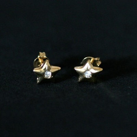 Mj7477 - Brinco Semi Jóia Folheado A Ouro Estrela Com Pedra