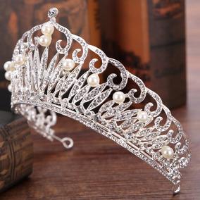 Coroa Tiara Cristais Perolas Acessório Cabelo De Noivas Luxo