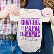 Body De Bebês Cowgirl Do Papai Roxo Country Tshirt