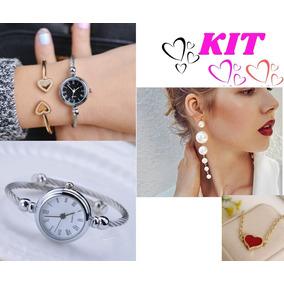 Kit Relógio Feminino Bracelete+brincos E Pulseira Presente