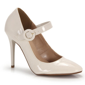 Sapato Boneca Salto Feminino Bruna Rocha - Branco