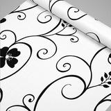 Papel Adhesivo Empapelar Pared Lavable Flores Negra 45cmx1mt
