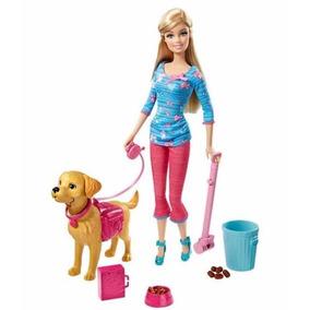 Boneca Barbie Fashion Passeio Cachorro Roupa Sapato Acessóri