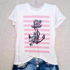 Blusa Feminina T-shirt Estampada Ancora Listrada