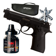 Pistola Co2 Fox Replica Beretta 92 Semi Auto + Kit + Funda