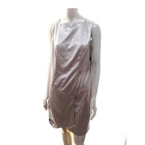 Vestido Social Cetim Encorpado Com Textura Dourado Tam 44