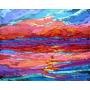 Pintura Óleo Río Paisaje Atardecer Amazónico