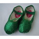 Sapatilha Ballet Bale Verde Bailarina Glitter Brilhante