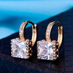 Brinco Feminino Banhado Em Ouro 18k + Zircônia+cristais