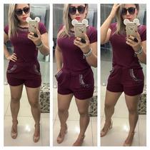 Conjunto Em Pedraria De Shorts E Blusa Plus Size Tam Grandes