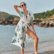 Salida De Baño Estampado Hojas Para Cubrir Vestido De Baño