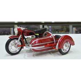 1:18 Moto Clasica Con Side Car Roja New Ray