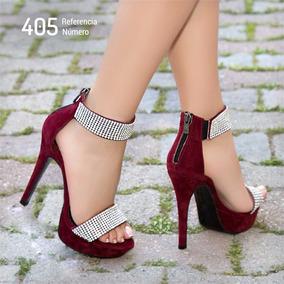 Sandálias Com Strass Cor Marsala Estilo Importada Ref: 405