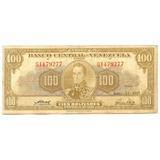 Billete 100 Bolívares Junio 13 De 1957 G7 - Serial G1479277