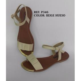Sandalia Dama Beige Plana Elegante Zapato Mujer Envío Gratis