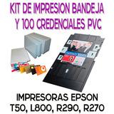 Charola Bandeja Epson T50 L800 Con 100 Credenciales Pvc