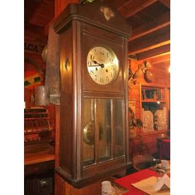 Reloj Pared Antiguo Cuerda 8 Días Con Péndulo Funcionando