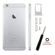 Tapa Carcasa Trasera iPhone 6 Plata + Botones Desarmador