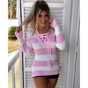 Blusa Feminina Tricot Tricô Listradado Cordão Ilhós Tendenci