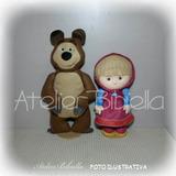 Marsha 26 Cm E O Urso 33 Cm Kit 2 Personagens Feltro