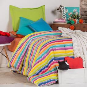 Acolchado Estampado Franja Colores 1 Plaza Multicolor