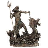 Poseidon With Trident Standing On Hippocampus, Cold Cas...