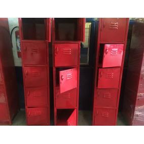 Lockers Casilleros Metálicos 5 Puertas Color Rojo