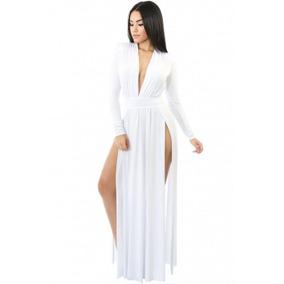 Maxi Vestido Fiesta Blanco Elegante Sexy Envío Gratis