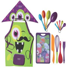 Kit De Utensílios Para Cozinha 16 Peças Monster Kids Infant