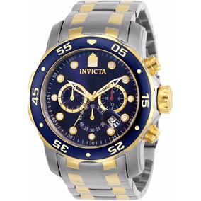 Relógio Invicta Pro Diver 0077 Prata Dourado Masculino