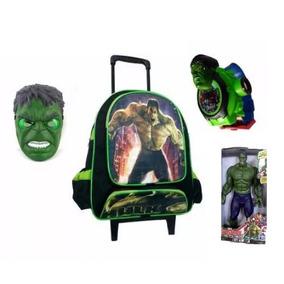 Mochila Escolar Infantil Hulk + Boneco 30cm Com Máscara