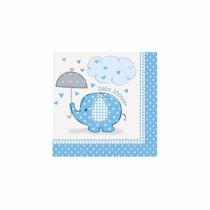 48 Servilletas De Papel 25 X 25 Cms. Baby Shower Azul