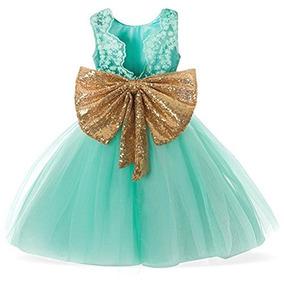 Vestido Para Niñas Menta Bodas Fiestas Comunion Fkkfyy